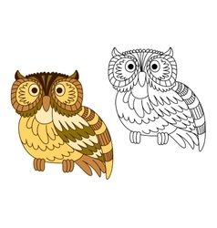 Cartoon brown short eared owl vector image vector image