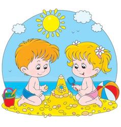 Children play on a beach vector