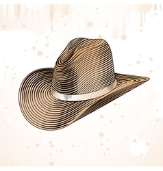 Cowboy hat in engraving style - vector
