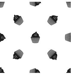 Cupcake pattern seamless black vector