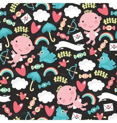 Cupid with clouds seamless pattern vector image