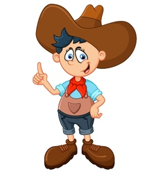 Cute young cowboy vector image