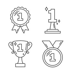 First place award line icons vector