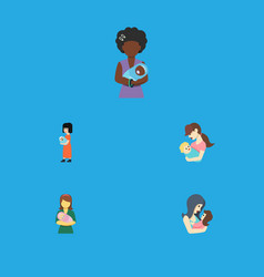 Flat icon parent set of mam newborn baby baby vector
