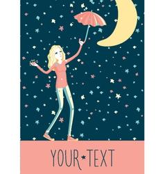 girl under stars rain vector image vector image