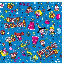 Happy Birthday kids party pattern 2 vector image vector image