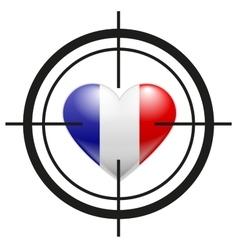 Heart of France flag at gunpoint terrorism vector image vector image