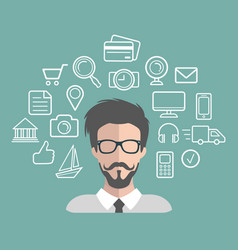 Hipster man app icon in vector