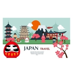 Japan landmark travel poster vector image