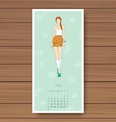 July hand drawn fashion models calendar 2016 vector