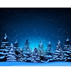 Landscape with silhouettes of snow-covered fir vector image