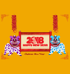 Lion dancing chinese new year with scroll banner vector