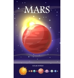 Mars planet sun system universe vector