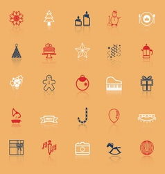 New year and christmas line icons on with reflect vector