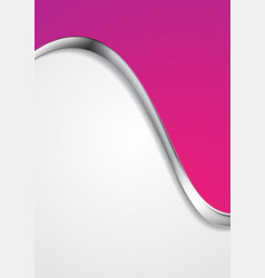 Pink abstract background with metallic silver wave vector