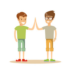 pupils giving each other a high five vector image