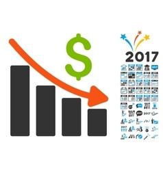 Recession trend icon with 2017 year bonus vector