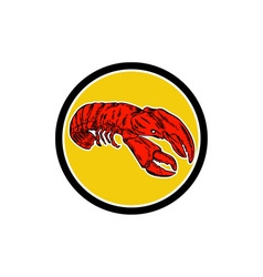 Red lobster circle retro vector