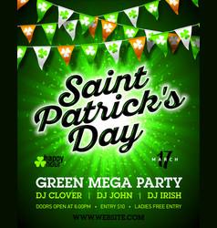 Saint patricks day green mega party invitation vector