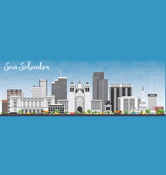 san salvador skyline with gray buildings and blue vector image vector image