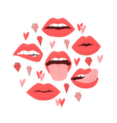 Sexy lips with tongue vector