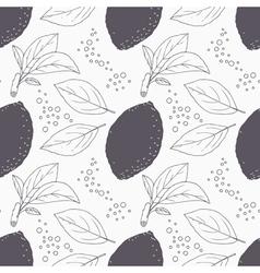 Stylized seamless pattern with hand drawn lemon vector image