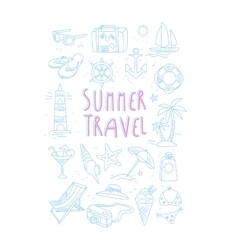 Summer Travel Related Object Set With Text vector image vector image
