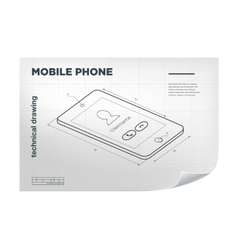 Technical with mobile phone drawing vector