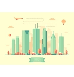 Toronto skyline architecture flat design vector