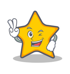 Two finger star character cartoon style vector