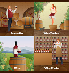 Wine production concept icons set vector