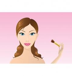 woman applying make-up vector image vector image