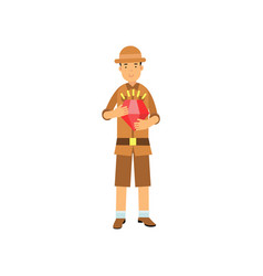 Young archaeologist character standing with red vector