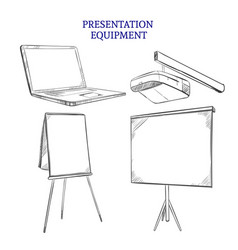 Business presentation sketch elements set vector