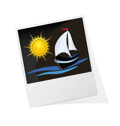 Photo frame with sun and boat vector