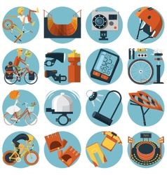 Cycling flat round icons set vector