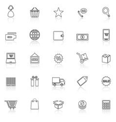 E commerce line icons with reflect on white vector