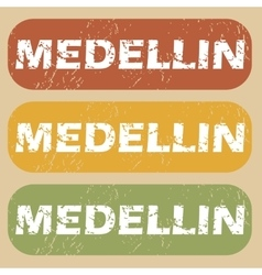 Vintage medellin stamp set vector