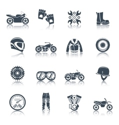Motorcycle Icons Black Set vector image