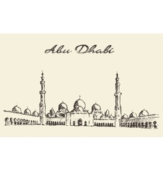 Abu dhabi mosque sheikh zayed mosque drawn vector
