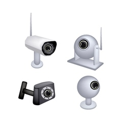 Set of cctv security camera on white background vector