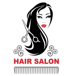 Decorative hair salon icon with pretty girl vector