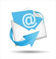 E-mail envelope with blue arrow vector