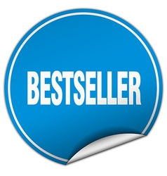 Bestseller round blue sticker isolated on white vector