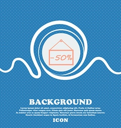 50 discount icon sign blue and white abstract vector