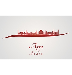 Agra skyline in red vector