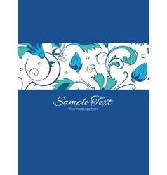 Blue green swirly flowers stripe frame vector