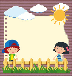border template with girl and boy in garden vector image