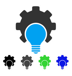 Bulb configuration gear flat icon vector
