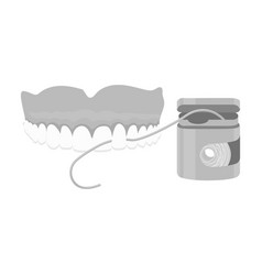 Cleaning the teeth with a silk dental floss vector